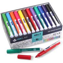 Dry Erase Markers Low Odor Whiteboard Markers Bulk Fine Bullet Tip for Home School Office Supplies, 12 Assorted Colors, Pack of 48pcs