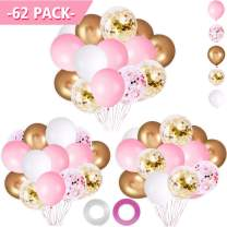 62Pcs Pink Gold Confetti Latex Balloons Kit - 12 Inch Pink White Gold Helium Balloons Party Supplies for Confession Proposal Wedding Girl Birthday Baby Shower Party Decoration
