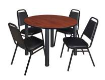 """Kee 48"""" Round Breakroom Table- Cherry/ Black & 4 Restaurant Stack Chairs- Black"""