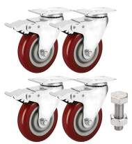"ENJUCOM 4"" Swivel Caster Wheels with Safety Dual Locking Heavy Duty 1200Lbs Set of 4 with Brake, 300 LBS Per Caster (Pack of 4), with Stainless Steel 16 Bolts & 16 Nuts"