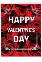 NobleWorks, Jumbo Happy Valentines Day Greeting Card (8.5 x 11 Inch) - Big Valentine's Card - Flowers for Love J3530VDG