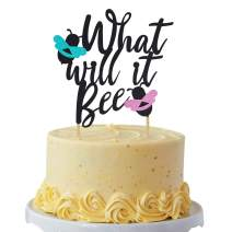 What Will It Bee Cake Topper Bumble Bee Gender Reveal Blue or Pink He or She Baby Shower Party Favor Glitter Decorations