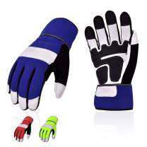 Vgo 3Pairs High Dexterity Soft Genuine Goat Leather Palm Touchscreen Abration Construction Maintenance Medium Duty Work Gloves (Size M, 3 Colors, GA7674)