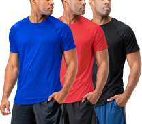 DEVOPS Men's 3-Pack Quick Dry Short Sleeve T-Shirt Sun Protection Running Athletic Workout Active Shirts