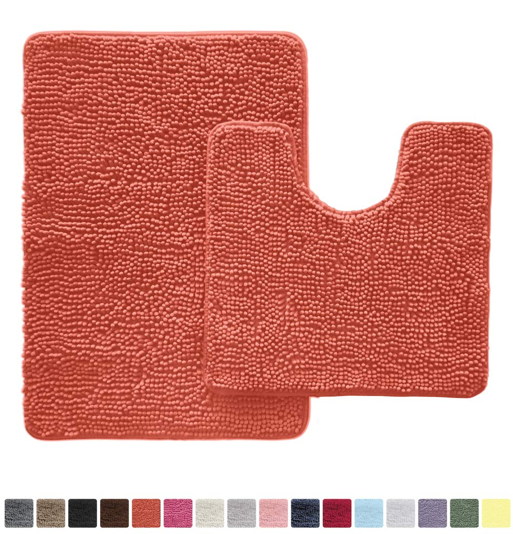 Gorilla Grip Original Shaggy Chenille 2 Piece Area Rug Set Includes Oval U-Shape Contoured Mat for Toilet and 30x20 Bathroom Rug, Machine Wash Dry Mats, Plush Rugs for Tub, Shower and Bath Room, Coral