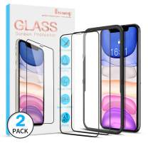[2 Pack] Benazcap Screen Protector for iPhone 11/iPhone XR 6.1,Tempered Glass Screen Protector with Installation Frame 9H Clear Natural Touch for Newest iPhone 11 6.1 Inch
