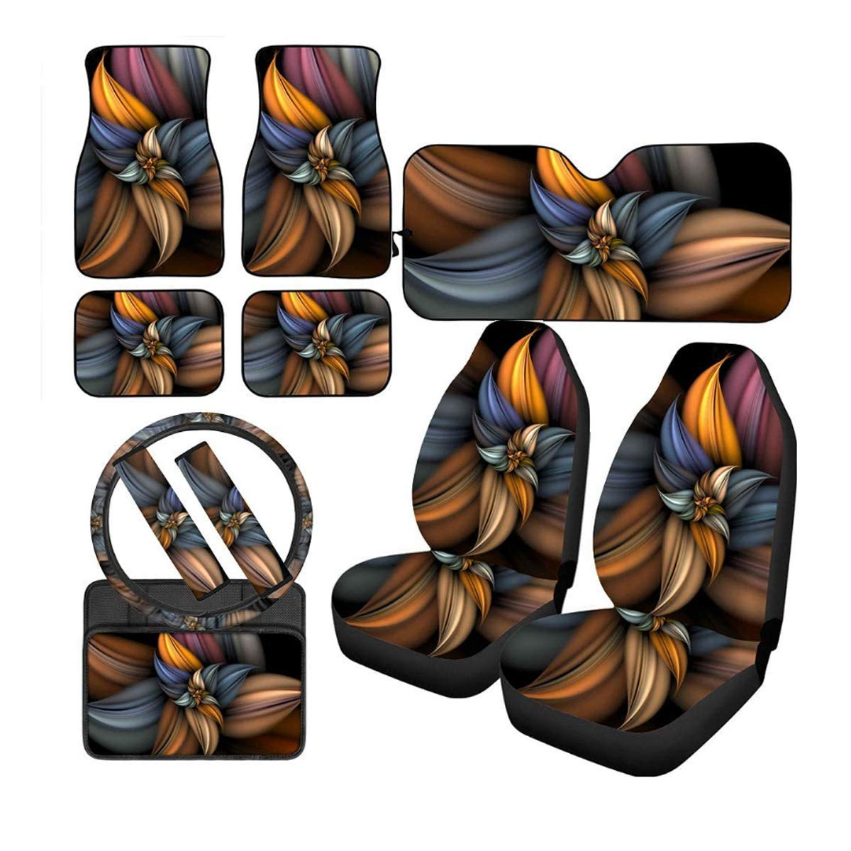 Amzbeauty 3D Floral Car Floor Mat Carpet Custom with Front Seat Cover, Windshield Sunshade, Steering Wheel Cover, Armrest Cover, Seat Belt Pads, Universal Car Interior Accessories Decorative