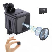 Spy Camera 1080P Mini Hidden Camera Night Vision Motion Detection Small Camera with 32GB SD Card for Home Security /Indoor/Warehouse/Apartment/Office