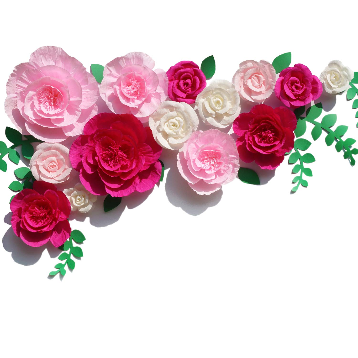 Letjolt Giant Crepe Paper Flowers Wedding Ornaments Backdrop Paper Peony Handcrafted Rose for Baby Shower Birthday Bridal Shower (Rose Pink White 14Pcs)