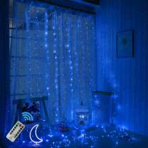300 LEDs Blue Halloween Curtain String Lights,Christmas 9.8ftx9.8ft USB Powered Copper Wire Fairy Window Lights, Remote Timer Control 8 Modes Twinkle Lights for Kids Bedroom Wedding Wall Decorations