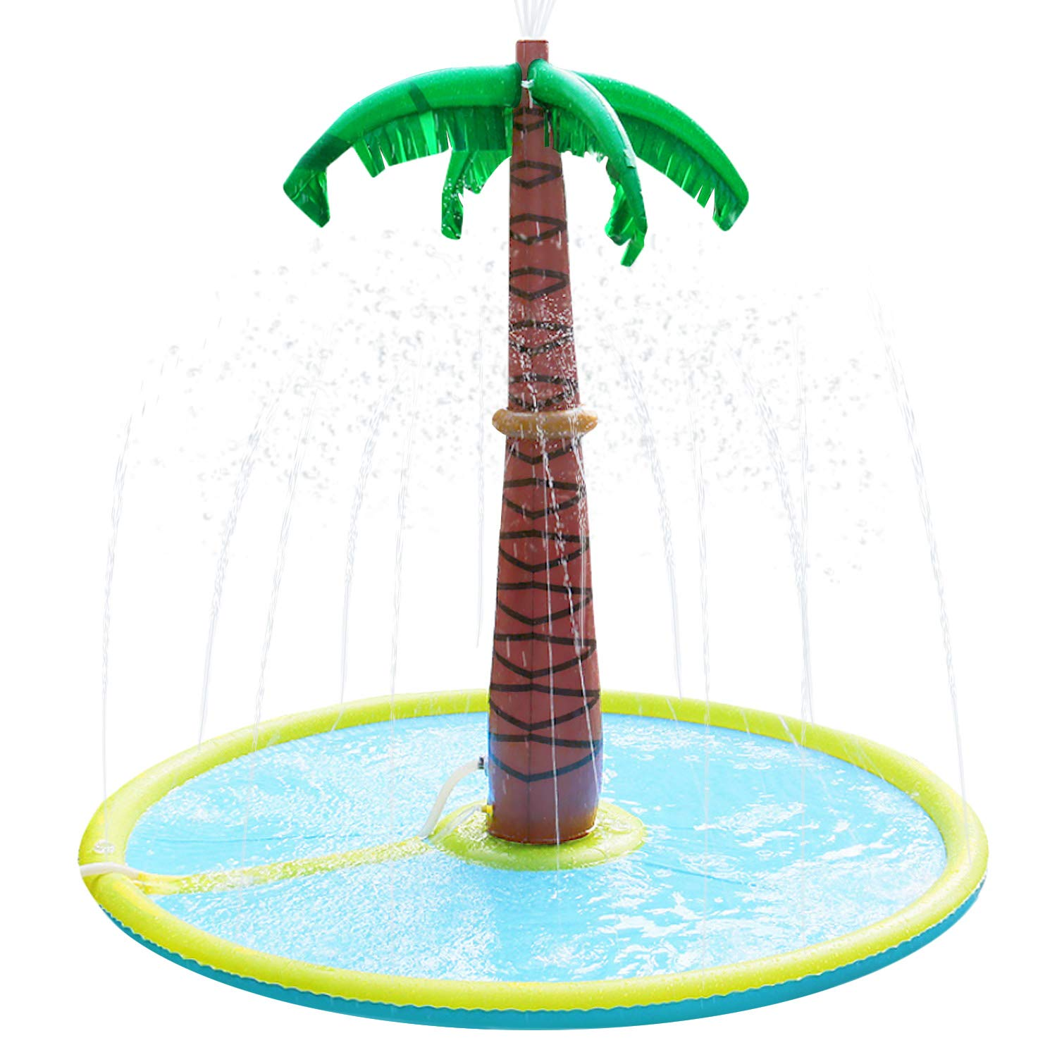Satkago Coconut Tree Inflatable Water Sprinkle Play Mat Summer Backyard Outdoor Sprinkler Toy for Children Kids Toddlers