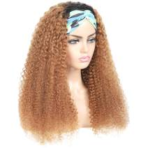 Feelgrace Ombre Brown Kinky Curly Human Hair Headband Wigs Black Roots to Brown Headband Wig Kinky Curly Hair No Lace No Glue Headband Wig Virgin Kinky Curly Human Hair Headband Wigs 14 Inch