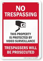 """SmartSign """"No Trespassing - This Property is Protected by Video Surveillance"""" Sign 