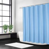 CAROMIO Shower Curtain, Flax Linen Like 240GSM Heavy Weight Fabric Bath Shower Curtain with Hooks Hotel Luxury Washable, Blue, 72x72 Inch
