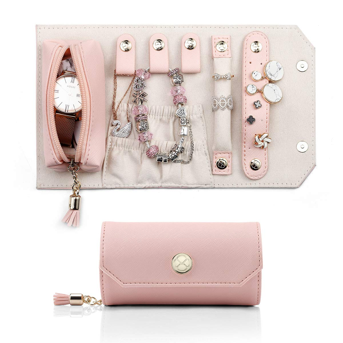 Vlando Portable Jewelry Roll for Travel, Mini Size & Light Weight Jewelry Storage Organizer Bag for Daily Jewelries for Bracelets, Earrings, Rings (Sweet Pink)