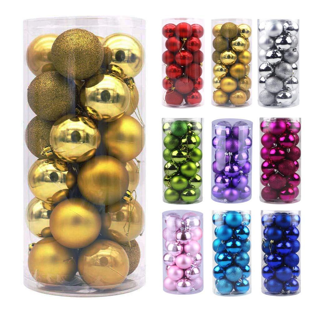 "Emopeak 24Pcs Christmas Mini Balls Ornaments for Xmas Christmas Tree - Small Shatterproof Christmas Tree Decorations Hanging Ball for Holiday Wedding Party Decoration (Gold, 1.2""-3.1CM)"