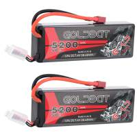 GOLDBAT 5200mAh 7.4V 50C 2S LiPo RC Battery Pack with Hard Case Deans Plug for RC Evader BX Car Truck Truggy Buggy Tank Helicopter Airplane Car Racing (2 Packs)