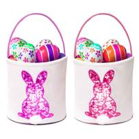 SEVENS 2 Pack Easter Bunny Basket Eggs Gift Candy Tote Bags for Kids Egg Hunt Reusable Storage Canvas Handbag (Purple & Pink)…