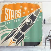 "Ambesonne Vintage Shower Curtain, Stars Cant Wait Retro Advertisement with Rocket Launch Your Business Image, Cloth Fabric Bathroom Decor Set with Hooks, 70"" Long, Green Orange"