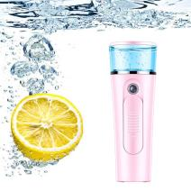 Nano Mist Sprayer Handheld Ionic Facial Spray Mister Face Steamer Daily Moisturizer Mini Portable For Strong Deep Moisturizing, Makeup, Facial Water Spa/Skin Care Beauty Instrument (Pink)