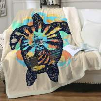 """Sleepwish Sherpa Blanket Turtle Animals 3D Printed Fuzzy Blankets Watercolor Splashes Pattern Fleece Comfy Reversible Blanket for Bed Sofa Couch Baby(30""""x40"""")"""