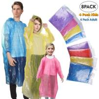 GKCI Rain Poncho Family Pack: 8 Pack Disposable Emergency Disposable Rain Ponchos for Men, Women and Teens, Children,Including Drawstring Hood on Adult, Assorted Colors