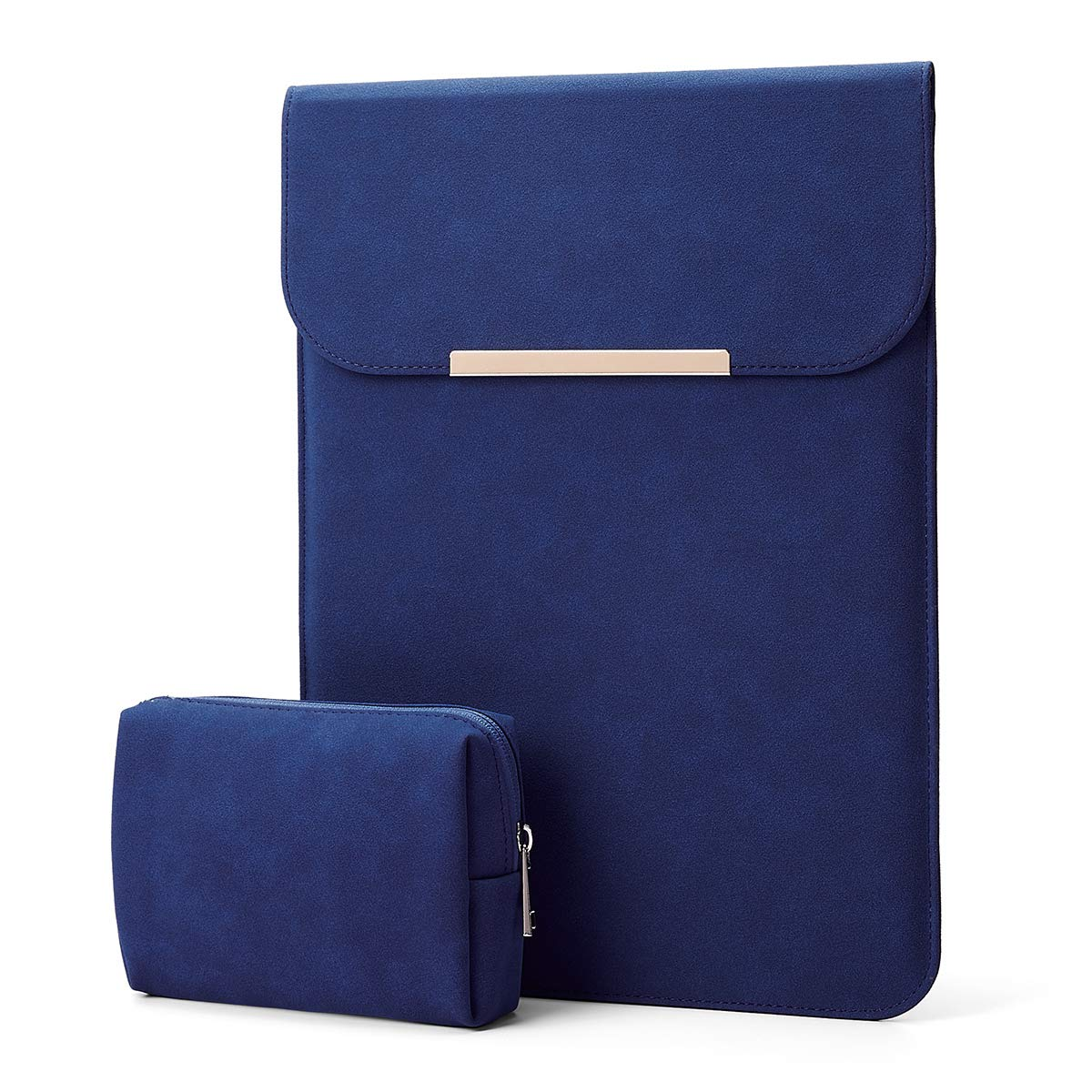 """KALIDI 13.3 inch Laptop Sleeve Case Faux Suede Leather for MacBook Air Pro Retina 2016-2020, for 13""""-13.5"""" Surface Pro 5 6 7 with Pouch (for 13.3 inches MacBook/Pro/Air, Navy Blue)"""