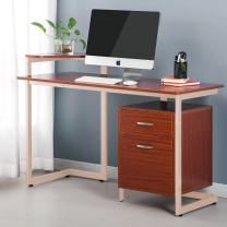 ProHT Office Computer Writing Desk with Two Drawers (05017A).Compact Computer/PC/Laptop/Table/Workstation Corner Desk for Small Place,Durable Frame,CARB Certified.Walnut&Ivory