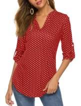 Halife Women's Long Sleeve/Sleeveless Floral Print V Neck Henley Tops Blouse Shirts Tunic