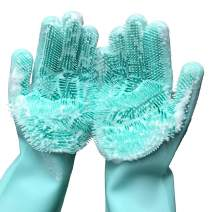 Magic Dishwashing Cleaning Sponge Gloves Reusable Silicone Brush Scrubber Gloves Heat Resistant for Dishwashing Kitchen Bathroom Cleaning Pet Hair Care Car Washing (Green)