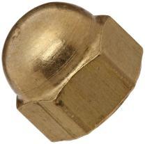 "Brass Acorn Nut, USA Made, 1/2""-20 Thread Size, 3/4"" Width Across Flats, 9/16"" Height, 3/8"" Minimum Thread Depth (Pack of 10)"