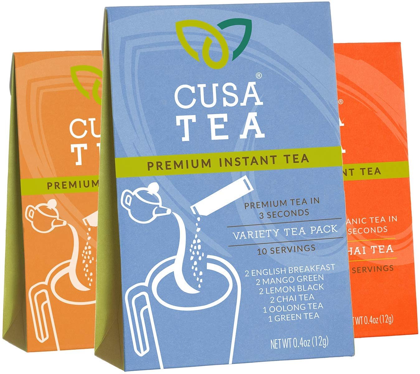 Cusa Tea Variety Packs and Bundles: Premium Instant Tea - No Sugar or Artificial Ingredients - Ready in Seconds - Iced or Hot (Variety Pack, Mango Green, Spicy Chai)
