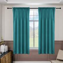 ALLJOY 2 Panels Energy Efficiency Soft Thick Easy Install Curtains, 100% Blackout Thermal Insulated Blocking Light Privacy Winter Rod Pocket Drapes for Small Windows,52 x 63 Inch, Teal
