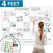 "Large Dry Erase Wall Calendar - 36""x48"" Premium Giant Oversized Undated Erasable Deadline Task Calendar for 2019 2020 - Jumbo Monthly Home School Task Organizer Planner for Home, Business & Dorm Room"