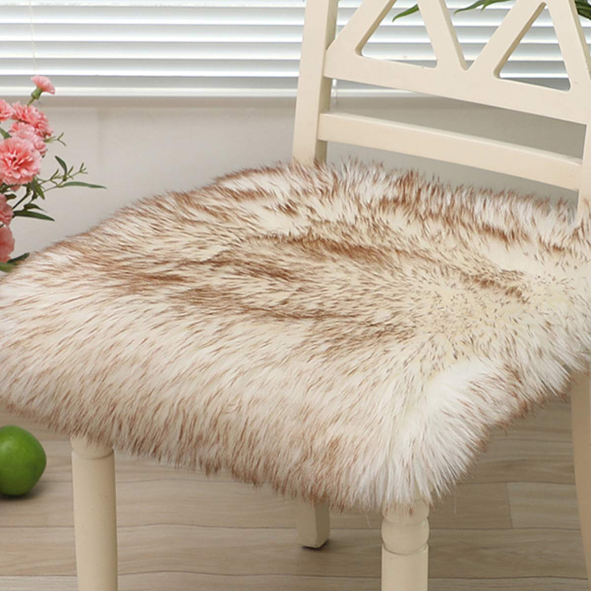 TEALP Faux Fur Sheepskin Silky Seat Cushion, Home Decor Square Area Rugs Carpet, Soft Fluffy Plush Chair Seat Pads Universal Fit Home Office Restaurant Chair, White Coffee,1 PC