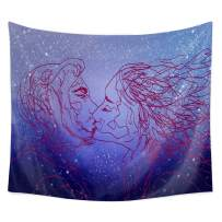"""QCWN Youth Vigor Abstract Sketch Art Kiss Lovers Tapestry, Man Kiss Woman on Galaxy Abstract Sketch Art Wall Hanging Tapestry are Very Ideal for Men or Women Rooms and Bedroom Living Room (78"""" L59 W)"""