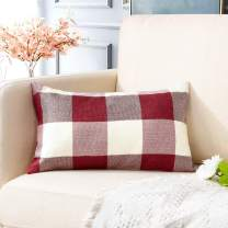 Artscope Buffalo Check Plaid Throw Pillow Covers Farmhouse Decorative Square Pillowcase, Classic Retro Checkers Cushion Covers for Sofa Bedroom Car 12 x 20 Inch, White and Red