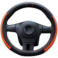 "LucaSng Microfiber Leather Auto Car Steering Wheel Cover Fit 13.97""-14.17""(Orange/S) - Anti-Slip and Durable"