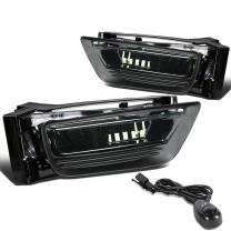 Replacement for Honda Accord 4DR Driving Bumper Fog Light + Bulbs + Switch (Smoke Lens) - 9th Generation