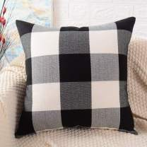 MERNETTE Plaid Cotton Linen Blend Decorative Square Throw Pillow Cover Cushion Covers Pillowcase, Home Decor Decorations for Sofa Couch Bed Chair 24x24 Inch/60x60 cm (Black+White)