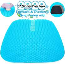 Large Gel Seat Cushion, Upgraded Seat Cushion with 2 Pack Non-Slip Cover, Multi-Use Seat Cushion Super Breathable Honeycomb Design Relief Back Pain Gel Cushion for Car, Office Chair, Wheelchair,Home