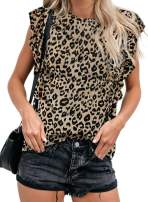 Lovezesent Womens Summer Sleeveless Casual Tie Dye T Shirts Ruffle Tank Tops