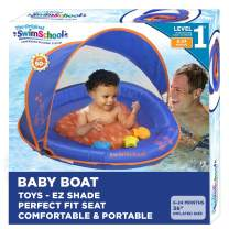 SwimSchool Splash & Play Baby Pool Float with Canopy and Activity Center, Dual Air Pillow Chambers and Adjustable Safety Seat, Baby Float, 6 - 24 Months, Blue