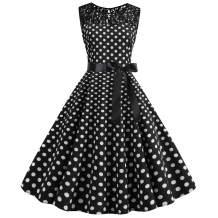Nihsatin Vintage Polka Dot Retro Audrey Hepburn Style Pinup 1950s Prom Cocktail Dress for Women