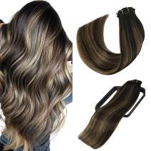 Aison Balayage Clip in Human Hair Extensions 14 inch Natural black to Chestnut Brown P Natural black Ombre Hair Extensions Clip in Double Weft Remy Human Hair Brazilian Hair Straight 7pcs 120g