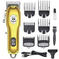 DigHealth Professional Hair Clippers Men,Electric Hair Trimmer kit Cordless, Beard Shaver USB Rechargeable with LCD Display, Hair Cutting Machine for Men and Family Use (Golden)