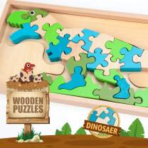Wooden Puzzle for Toddler 3+,Dinosaur Alphabet Wooden Puzzle,Educational Development Toy,Boys Girls Gift