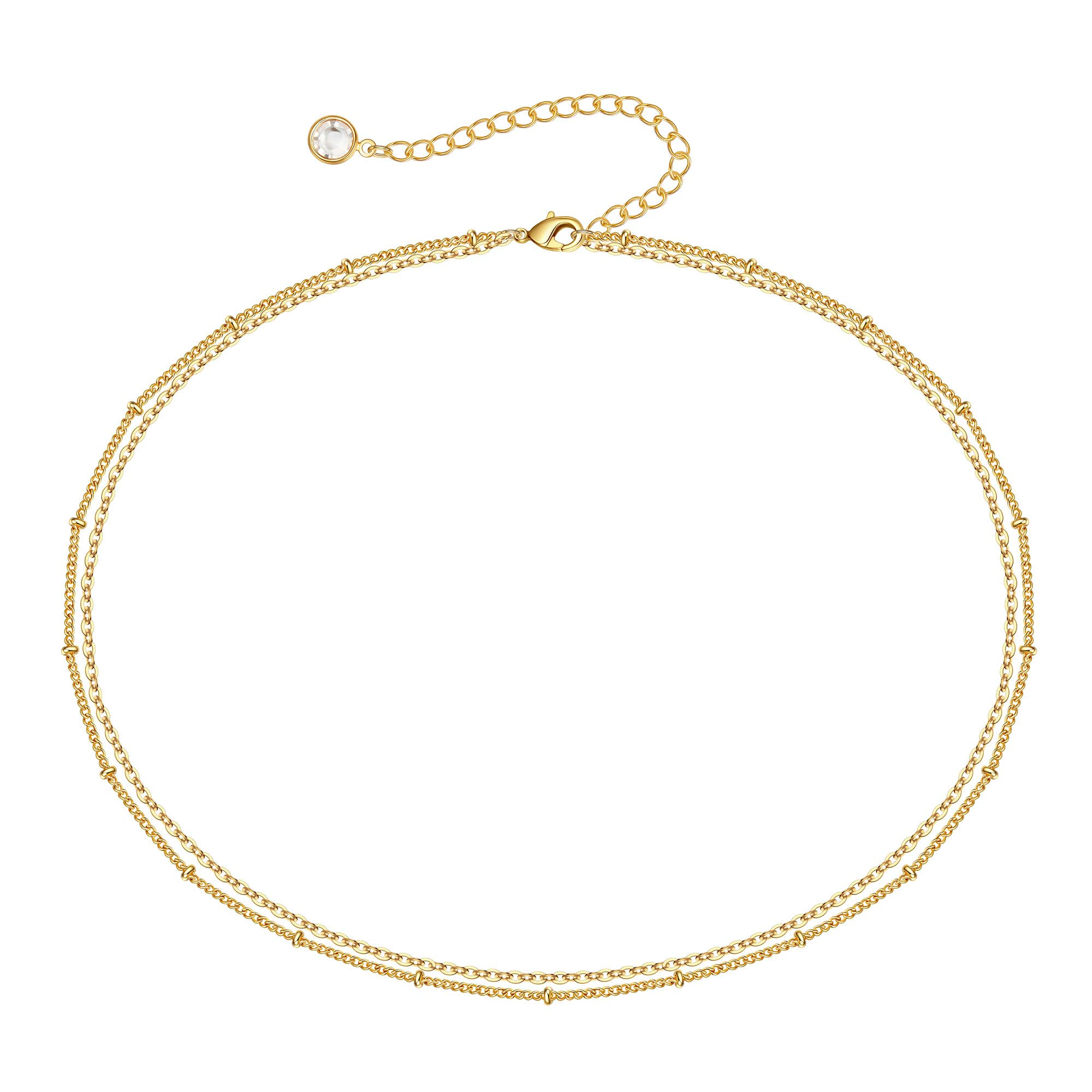 Choker Necklaces for Women, Dainty 14K Gold Plated Layered Star Butterfly Choker Necklace, Simple Cute Beaded Snake Chain Link Choker Necklace Womens Small Short Necklaces Jewelry for Teen Girls