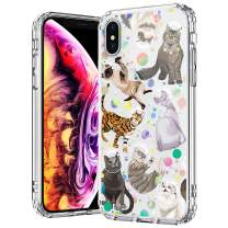 MOSNOVO Cute Space Cat Clear Design Transparent Plastic Hard Back iPhone Xs Max Cases with TPU Bumper Protective Case Cover for iPhone Xs Max