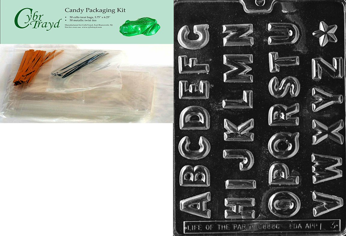 Cybrtrayd Letters A-Z and Numbers Chocolate Candy Mold, Includes 25 Gold and 25 Silver Twist Ties